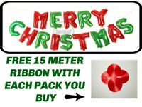 MERRY CHRISTMAS Balloon Xmas Banner Bunting Self Inflating Letters Foil Balloons