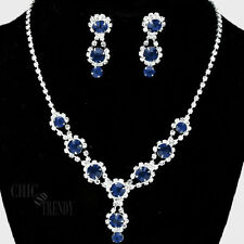 CLASSIC DARK SAPPHIRE BLUE & CLEAR CRYSTAL WEDDING FORMAL NECKLACE JEWELRY SET