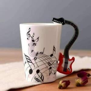 Music Themed Mug with Electric Guitar Handle