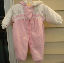 24 mo. BUNTING SUIT TODDLER WINTER  PINK WHITE COTTON POLY SOFT WARM