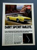 1974 Dodge Dart Sport Rallye 4 Speed Original Print Ad 8.5 x 11""