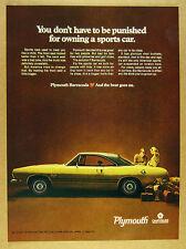 1968 Plymouth Barracuda yellow & black car photo vintage print Ad