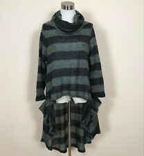 Ruti Women's Green/Black Wool Blend Striped Sweater High/Low Sz 2