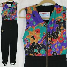 Figure Skating Outfit Sleeveless Jumpsuit Black Floral Blue Skys Women Size S