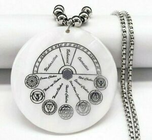 Meditation 7 Seven Chakra Yoga Flower of Life Lotus Silver Shell Symbol Necklace