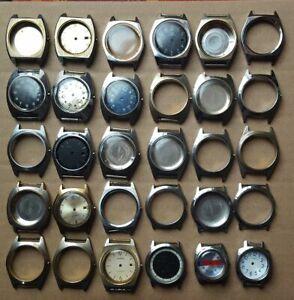 30 ältere Ruhla - Gehäuse für Armbanduhren Kal. 24, gebrauchte Bastlerware