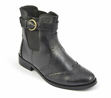 Womens Brogue Chelsea Boots Ladies Ankle High Shoe Buckle Size Winter Warm Sole