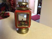 Vintage Red / Brass Lantern KEROSENE Carriage Style Oil Lamp HONG KONG