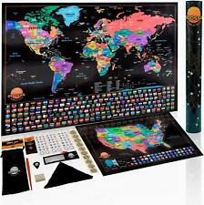 Deluxe Scratch Off Map of The World | Scratch Off World Map Poster + US Scratch