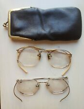 Lot of 2 Vintage Antique Gold Filled Bifocal Eyeglasses Stamped 12K Gf w Case