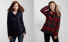 Aeropostale Womens Navy Red Lined Hooded Peacoat Pea Coat Winter Jacket Coat NWT