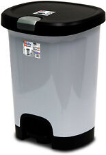 7 Gallon Step On Trash Can Kitchen Plastic Home Garbage Bin Waste Lock Lid Gray