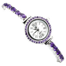 Unheated Oval Amethyst 5x4mm White Gold Plate 925 Sterling Silver Wristwatch