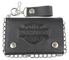 Harley-Davidson Men's B&S Embossed Trucker Tri-Fold Plus Wallet XML3514-BLACK