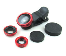 Universal rosso 3 in 1 Fish Eye Wide Angle Macro Lens clip SET KIT per iPhone iPad