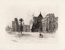"Original 1800s Herbert RAILTON Etching ""Penshurst Place & Gardens"" SIGNED COA"