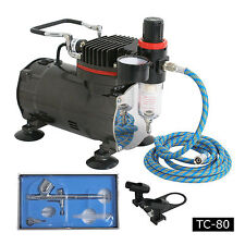 New Airbrush Kit Single Cylinder Piston Air Compressor Dual-Action Hobby Set