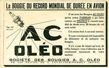 Publicité ancienne Accessoires  avion bougie A C Oléo  issue de magazine 1924