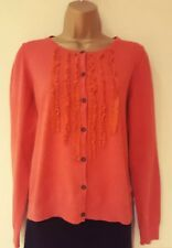 LOVELY RED BODEN CARDIGAN SZ 12 IN VGC! COTTON, RUFFLES
