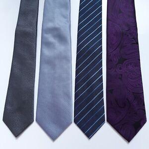 4 NEW Mens Ties Thomas Nash Next Blue Grey Purple Plain Striped Paisley BNWOT