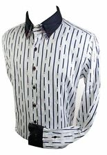 Mens Italian Double Button Collar Shirt White Red Blue Stripe Paisley Trim Smart