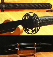 41'FOLDED STEEL BLACK FULL TANG JAPANESE SAMURAI KATANA SWORD WEAVING HANDLE