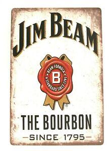 New Jim Beam Bourbon Tin Metal Poster Sign Whiskey Bar Vintage Style Ad Man Cave