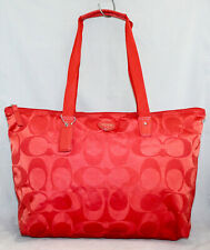 COACH Red Signature Nylon Zip Tote Weekender Carryall Bag