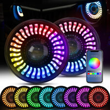 "7"" Dual Beam LED Headlight RGB Flowing Angel Eyes DRL Halos for Jeep Wrangler JK"