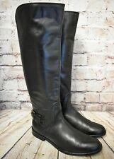 Womens Clarks Black Leather Low Heel Zip Up Knee High Boots UK 5.5 E EUR 39 WIDE