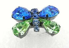 Coach Crystal Butterfly Ring Blue Green Gunmetal Gray Size 7