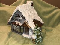 Vtg RARE HTF Kimple Ceramic Mold Snowy Christmas House With Lights And Tree!!