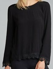 BNWT EMERGE top size 10 Black long sleeve lace hem