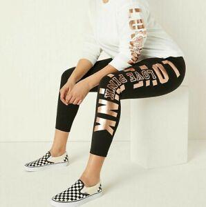 NWT VICTORIA SECRET PINK Cotton High Waist Black w/Rose Gold Leggings L NEW