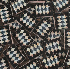 Ceramic Mosaic Tiles - Antique Design Tea Stained Harlequin Checkered Mosaic