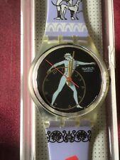 Wristwatch SWATCH Gent DISCOBOLUS (GK141)-NEW/NOS-Olympics/Sport/Purple-L@@K
