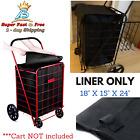 FOLDING SHOPPING CART LINER Cover Rolling Utility Trolley Wheels Basket Hood Bag