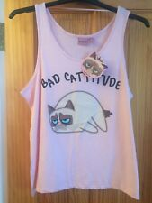Primark Grumpy Cat Bad Cattitude Vest Top Pink Size 16