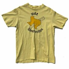 Vtg 70s Hanes Single Stitch Yellow Holt Construction Texas T-Shirt M USA Made