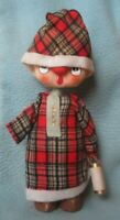 Vtg MAN WEARING NIGHT CAP PAJAMAS LANTERN CHRISTMAS CLOTH FIGURE Noel Japan DS4