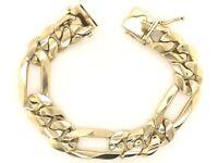 """Men's 14k Yellow Gold Solid Heavy Figaro Link Bracelet 8.5"""" 17.5mm 114 grams"""