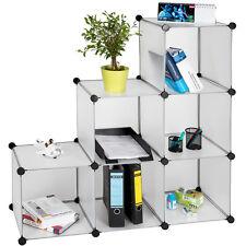 Estantería de plastico modular cómoda cuadrados ropero organizador baño blanco N