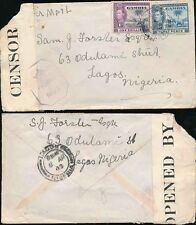 GAMBIA 1943 CENSORED COVER to NIGERIA CENSOR NN3...ELEPHANTS 1/- + 3d AIRMAIL