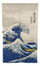 "Japanese Noren Curtain Tapestry The Great Wave Off Kanagawa Mount Fuji 59.25""L"