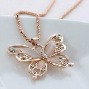 Jewelry Lady Girls Sweater Chain Necklace Rose Gold Opal Butterfly Pendant