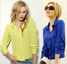 Chiffon Collared Fitted Tops & Shirts Business for Women