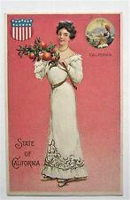CA STATE GIRL California Holds Oranges Embossed Postcard Unused