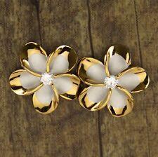 New Hawaiian Jewelry 925 Sterling Silver Earrings Gold Trim Plumeria CZ SE53245