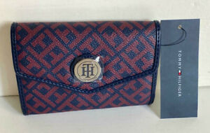 NEW! TOMMY HILFIGER NAVY BLUE / RED MEDIUM FRENCH CLUTCH WALLET $48 SALE