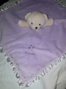 Carters Purple Tan Teddy Bear Princess Ruffle Trim Rattle Lovey Security Blanket